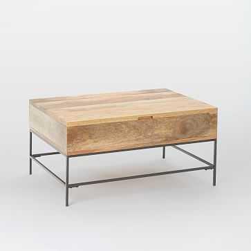 "Industrial Storage Coffee Table, 36""x26"", Raw Mango - West Elm"