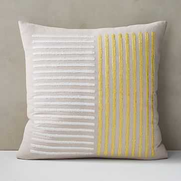 """Embroidered Lines Pillow Cover, 24""""x24"""", Belgian Flax - West Elm"""