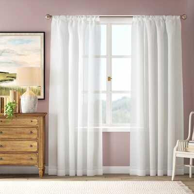 Angela Solid Solid Sheer Rod Pocket Single Curtain Panel - Birch Lane