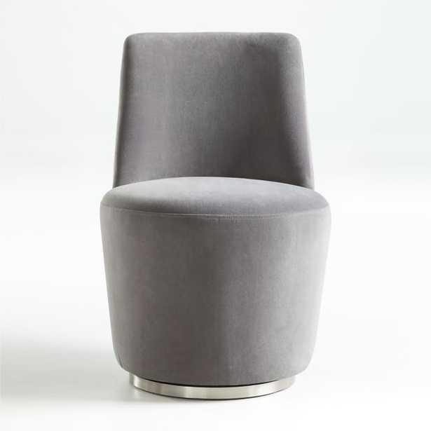 Ofelia Slate Grey Velvet Swivel Dining Chair - Crate and Barrel