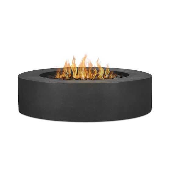 """Concrete Low Round Fire Table, 43"""", Carbon - West Elm"""
