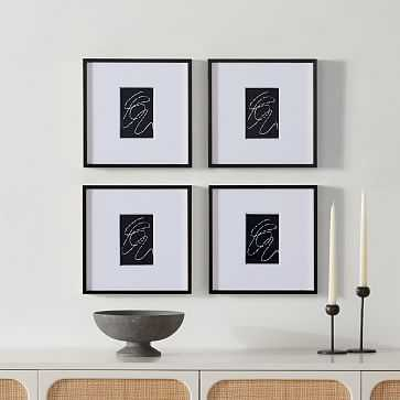 Metal Gallery Frame Rectangle, Black Powder Coated, 12X12 in Set of 4 - West Elm