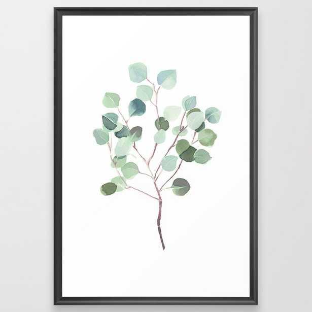 Eucalyptus Leaves Botanical Print Framed Art Print by Becky Bailey - Scoop Black - LARGE (Gallery)-26x38 - Society6