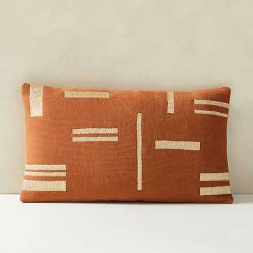 """Embroidered Metallic Blocks Pillow Cover, 12""""x21"""", Copper Rust - West Elm"""
