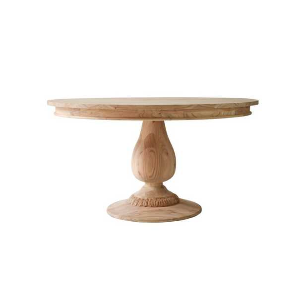 """Ave Home Raw Charlotte Pedestal Dining Table Size: 30"""" H x 55"""" L x 55"""" W - Perigold"""