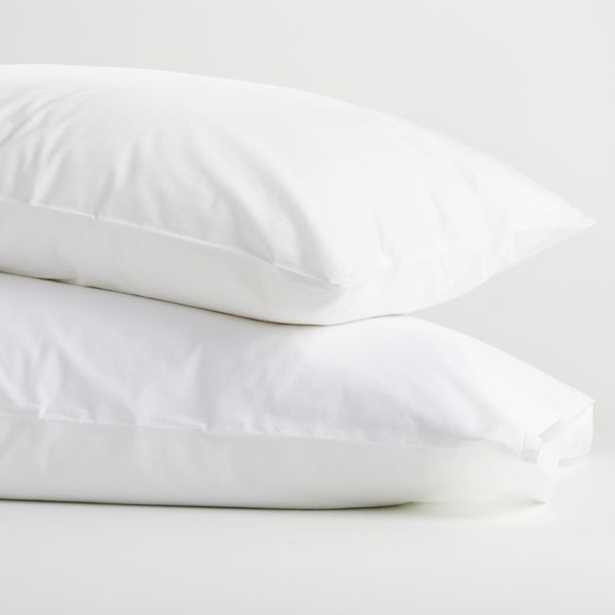 Crisp Cotton Percale White King Pillowcases, Set of 2 - Crate and Barrel