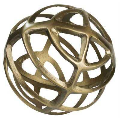 Open Design Metal Frame Sphere Accent Decor, Set Of 2, Brass - Wayfair