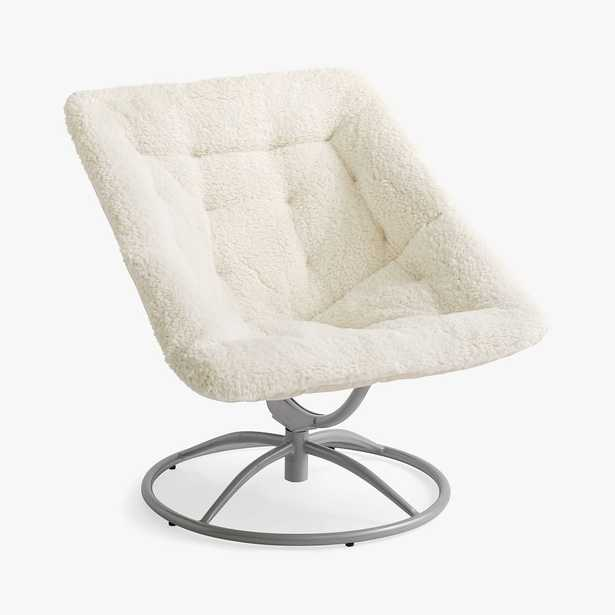 Sherpa Ivory/White Square Hang-A-Round Swivel Chair - Pottery Barn Teen