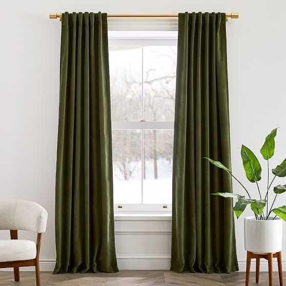 "Textured Upholstery Velvet Curtain, Olive, 48""x108"", Set of 2 - West Elm"
