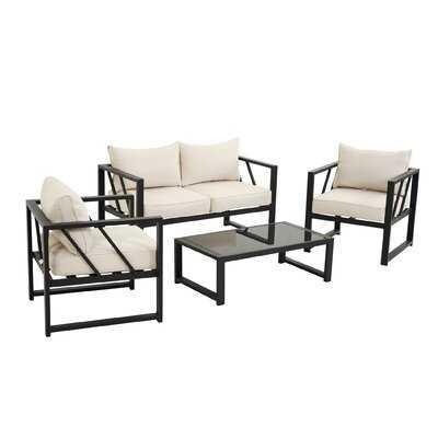 Outdoor 4 Piece Aluminum Sofa Conversation Set ,Patio Furniture Seating Group With Cushions - Wayfair