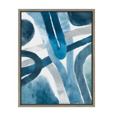 'Abstract Blue And Gray Watercolor' by Homes Designs - Floater Frame Painting Print on Canvas - Wayfair
