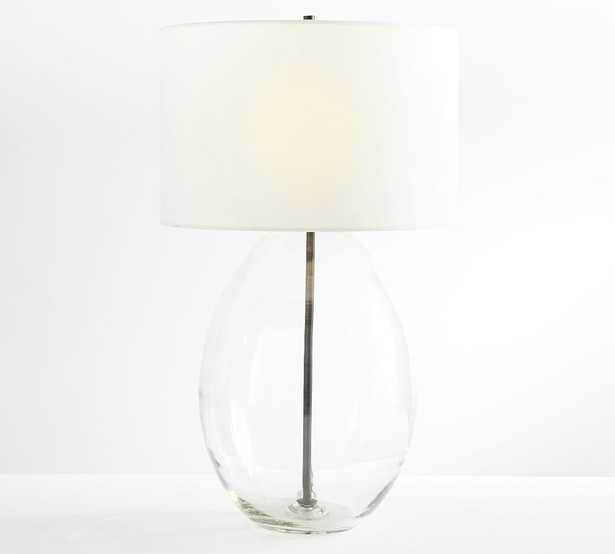 Bennett Recycled Glass Table Lamp, Bronze, Large with XL White SS Gallery Shade - Pottery Barn