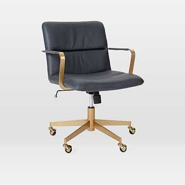 Copper Mid-Century Leather Office Chair, Leather, Aegean, Antique Brass - West Elm