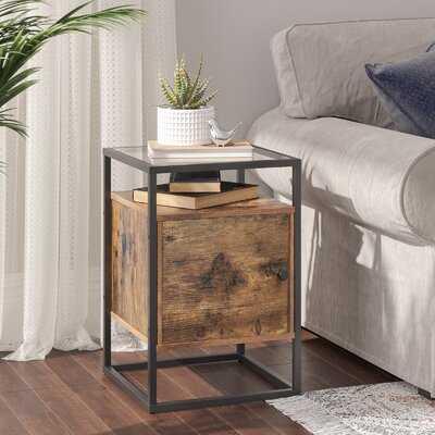 Hornbeck Glass Top Frame End Table with Storage - Wayfair