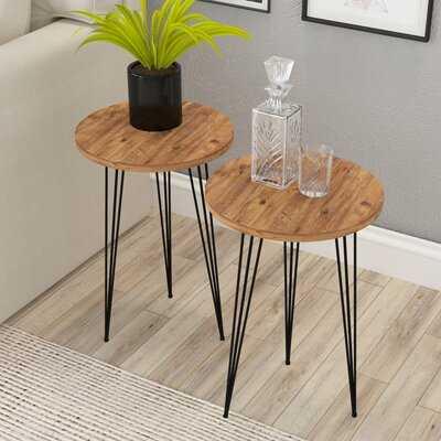 SUNRISE Set Of 2 END Table, Pine Wood - Wayfair