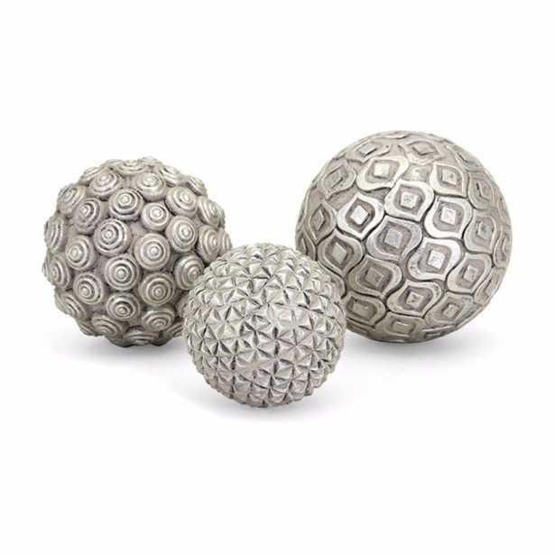 Benjara Nahara Spherical Glass and poly resin Silver Decorative Balls (Set of 3) - Home Depot