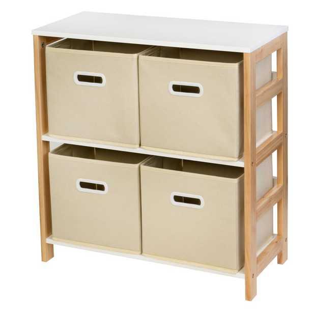Honey-Can-Do 9.45 in D x 9.84 in W x 10.24 in H Natural Kids 4 Bin Organizer, Natural/White - Home Depot