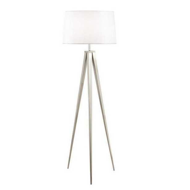 E Ko Image 63 in. Brushed Nickel Tripod Floor Lamp - Home Depot