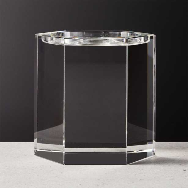 Hex Large Crystal Pillar Candle Holder - CB2