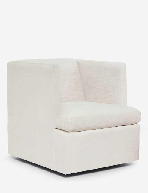 Hayden Square Swivel Chair, Sand - Lulu and Georgia