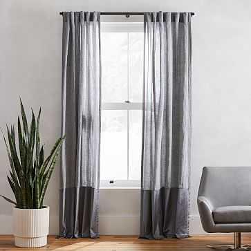 """Belgian Flax Linen + Luster Velvet Curtain, Slate + Pewter 48""""x 96"""" - West Elm"""