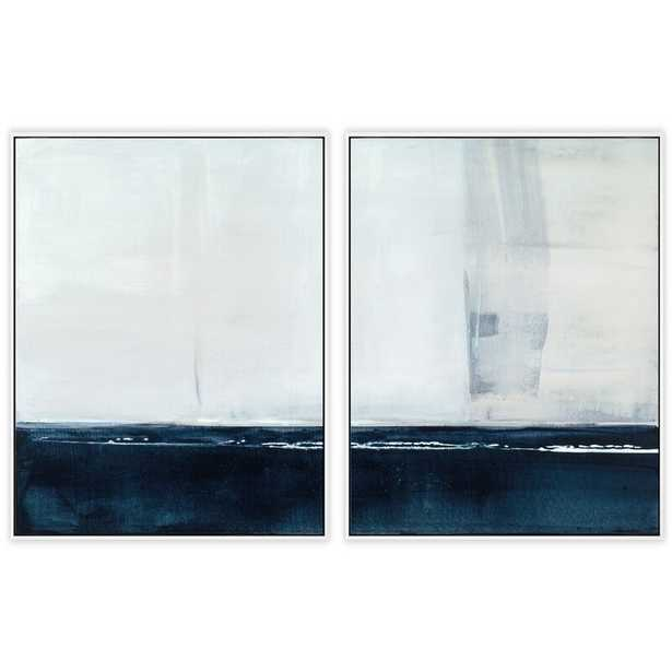 """Benson-Cobb Studios 'Washed Ink Diptych' by Carol Benson-Cobb - 2 Piece Picture Frame Print Set on Canvas Frame Color: Newport White, Size: 40"""" H x 30"""" W x 2.5"""" D - Perigold"""