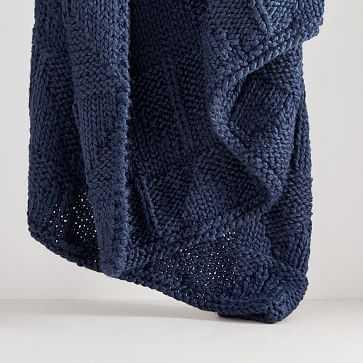 "Fisherman Knit Throw, 50""x60"", Midnight - West Elm"