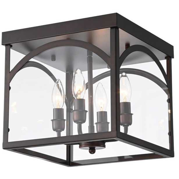 Warehouse of Tiffany Fogi 11 in. 4-Light Indoor Bronze Finish Chandelier with Light Kit - Home Depot