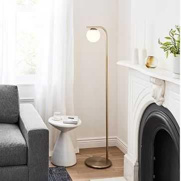 Hayes Floor Lamp, Milk Glass, Light Bronze - West Elm