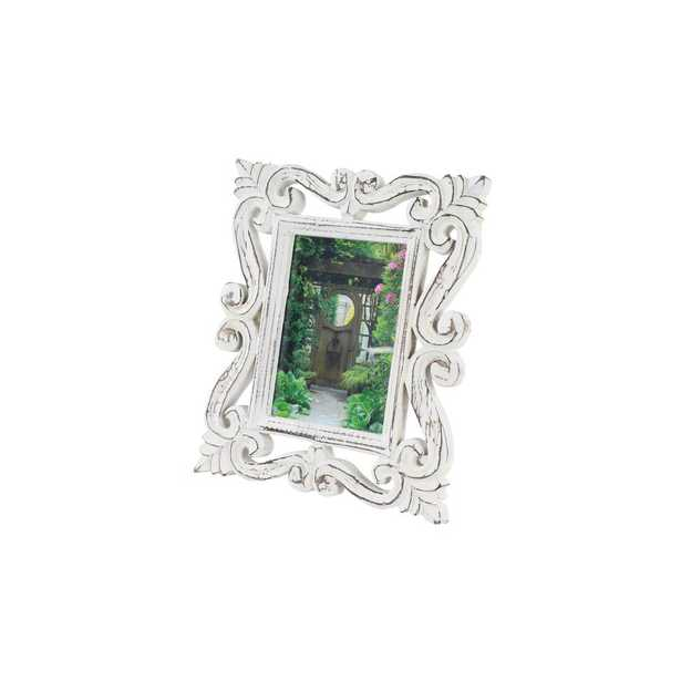 Litton Lane 5 in. x 7 in. Rectangular Hand-Carved Antique Picture Frame with Whitewash Wood Finish, White - Home Depot