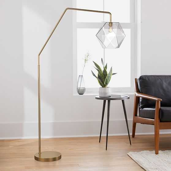 Sculptural Overarching Floor Lamp, Faceted Small, Clear, Antique Brass - West Elm