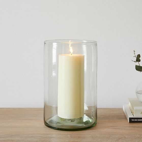 Pure Recycled Glass Hurricane, Wide Cylinder, - West Elm