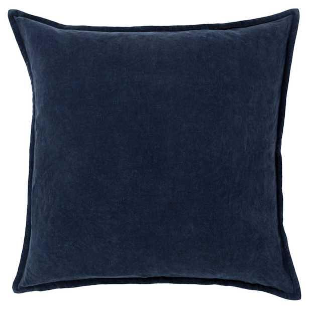 "Anika Modern Classic Navy Blue Velvet Flange Down Pillow -  20"" x 20"" - Kathy Kuo Home"