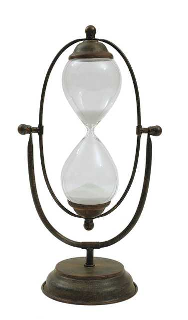 Decorative Metal Hourglass with White Sand, Rust - Nomad Home