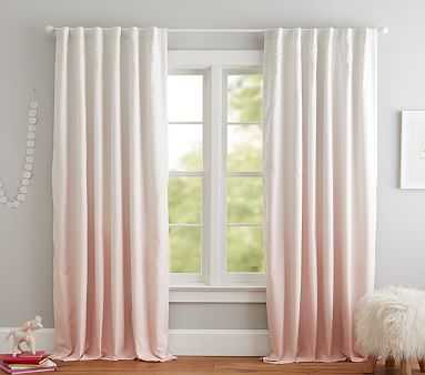 """Printed Ombre Blackout Curtain, 84"""", Blush, Individual - Pottery Barn Kids"""