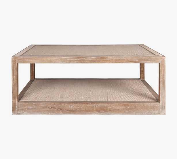 "Burnaby 52"" Rattan Rectangular Coffee Table, White Wash - Pottery Barn"