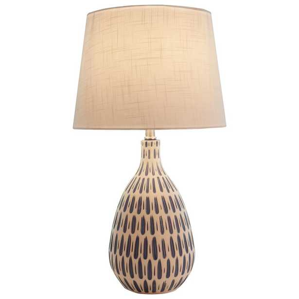 River of Goods 24.5 in. White Linen Table Lamp with Ceramic Base - Home Depot