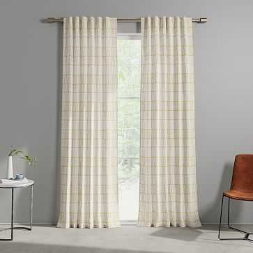 "Line Lattice Curtain, Horseradish Stone White, Set of 2, 48""x84"" - West Elm"