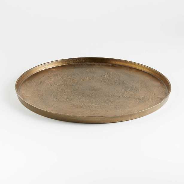 Element Metal Tray, Antiqued Brass - Crate and Barrel