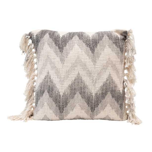 Stonewashed Cotton Slub Pillow with Chevron Print & Tassels, Multi Color - Nomad Home