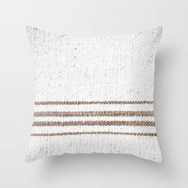 """Farmhouse Grain Sack Dark Brown Stripes Couch Throw Pillow by Christina Lynn Williams - Cover (20"""" x 20"""") with pillow insert - Outdoor Pillow - Society6"""