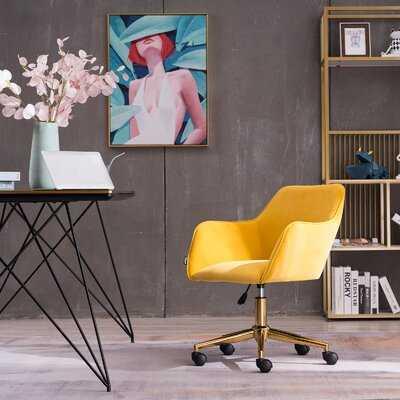 Modern Velvet Adjustable Revolving Home Office Chair With Gold Metal Legs Universal Wheel For Indoor - Wayfair