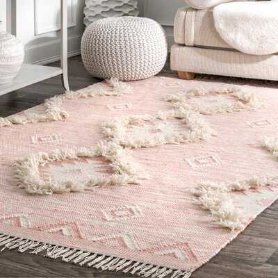 Crayford Geometric Hand-Knotted Wool Pink Area Rug - Wayfair