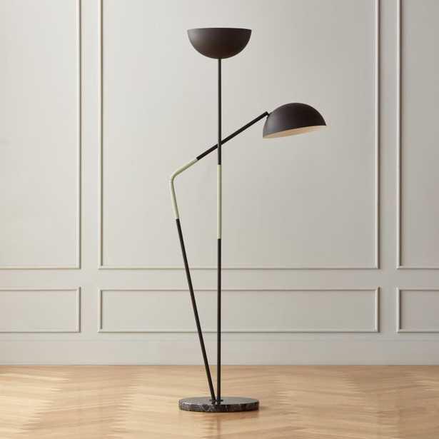 Pavo Black Marble Double Floor Lamp - CB2