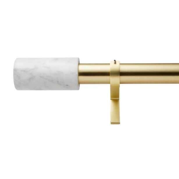 """Brushed Brass with White Marble Finial Curtain Rod Set 28""""-48""""x1.25""""Dia. - CB2"""