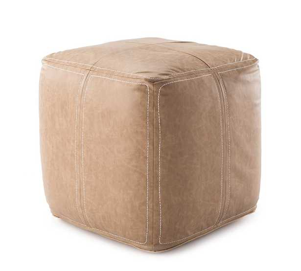 """Faux Leather Handwoven Pouf, 18"""" x 18"""" x 18"""", Taupe - Pottery Barn"""