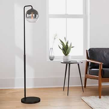 "Sculptural Floor Lamp, Globe Small, Silver Ombre, Antique Bronze, 8"" - West Elm"