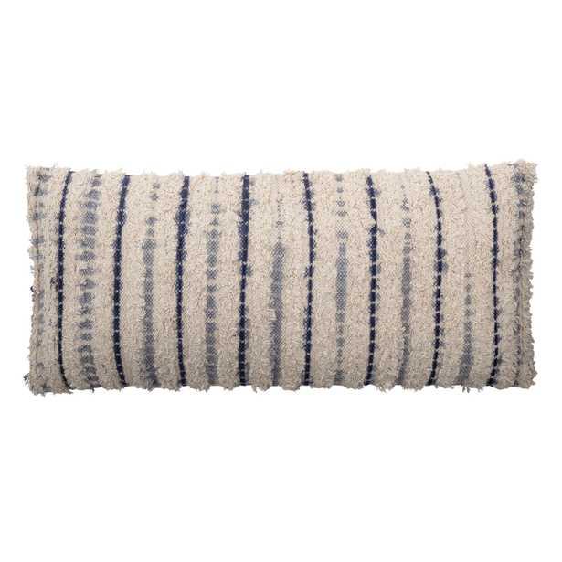 "Textured Lumbar Pillow with Tie-Dyed Stripes, Cotton, 36"" x 16"" - Moss & Wilder"