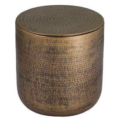 Brackettville Drum End Table with Storage - Wayfair