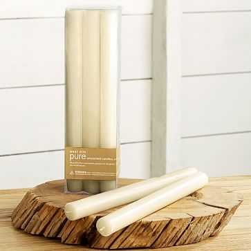 Unscented Tapered Candles, Set of 12, Ivory - West Elm